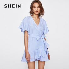 SHEIN Blue Frill Detail Surplice Wrap Striped Dress 2017 Fashion Summer Beach Women Frill Detail Surplice Wrap Striped Clothes