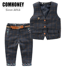 Boys Wedding Clothes Kids Tuxedo Suit for Baby Boys Blazer Jacket  Plaid Vest Pants Toddler Formal Party Set Children Clothing