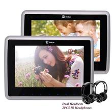 HD LCD Screen Auto Monitor Car pc Headrests cd DVD Player 2PCS Support tv USB IR FM Transmitter 1080P Video+Wireless Headphones