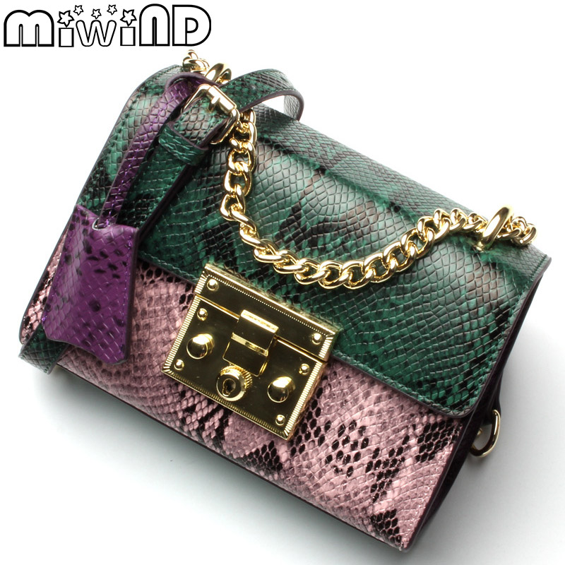 MIWIND 2017 New Women Messenger Bags Fashion Snakeskin Panelled Leather Flap Bag Chains Lock Crossbody European &amp; American Style<br>