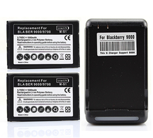 High Quality 3.7V 2x 1800mah Replacement Battery + Wall Charger for Blackberry bold 9000 9700 9780 Batteries