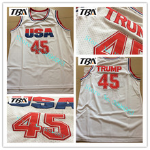 Buy TBA 2017 Commemorative Edition White Color Basketball Jersey #45 USA Donald Trump Mens Cheap Throwback Basketball Jerseys for $17.99 in AliExpress store