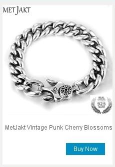 MetJakt Punk Rock Men's Thai Silver Skull Bracelet Solid 925 Sterling Silver Locomotive Bracelet for Biker Men's Jewelry