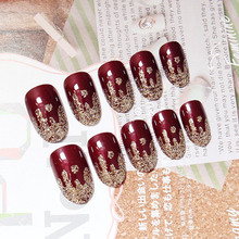 TKGOES 24PCS High-gloss shiny red wine ice cream False French Nail Tips Full Cover Faux Onlges High Quality UV Gel Fake Tips Art