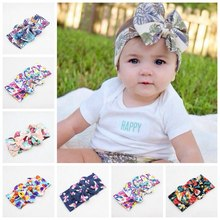 "20pcs 15""  Cotton Fabric Floral big bow Bandanas Knot Headbands Headwrap   Turban Tie Soft Head wrap hair band FD6560"