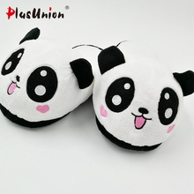 indoor winter panda slippers flat furry fluffy rihanna slides fenty fur flip flops shoes fuzzy house women faux plush mules s129(China)