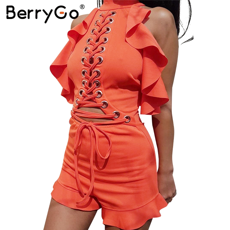 BerryGo Halter lace ruffle jumpsuit romper Women sexy hollow backless short playsuit Female sleeveless summer overalls