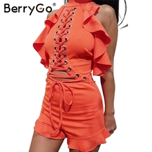 Buy BerryGo Halter lace ruffle jumpsuit romper Women sexy hollow backless short playsuit Female sleeveless summer overalls