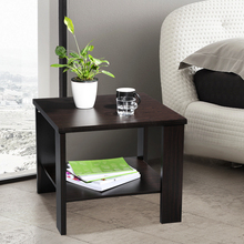 LANGRIA Modern Minimalist Square Coffee Tea Side Sofa End Table Night Stand with Bottom Shelf, Black Walnut(China)
