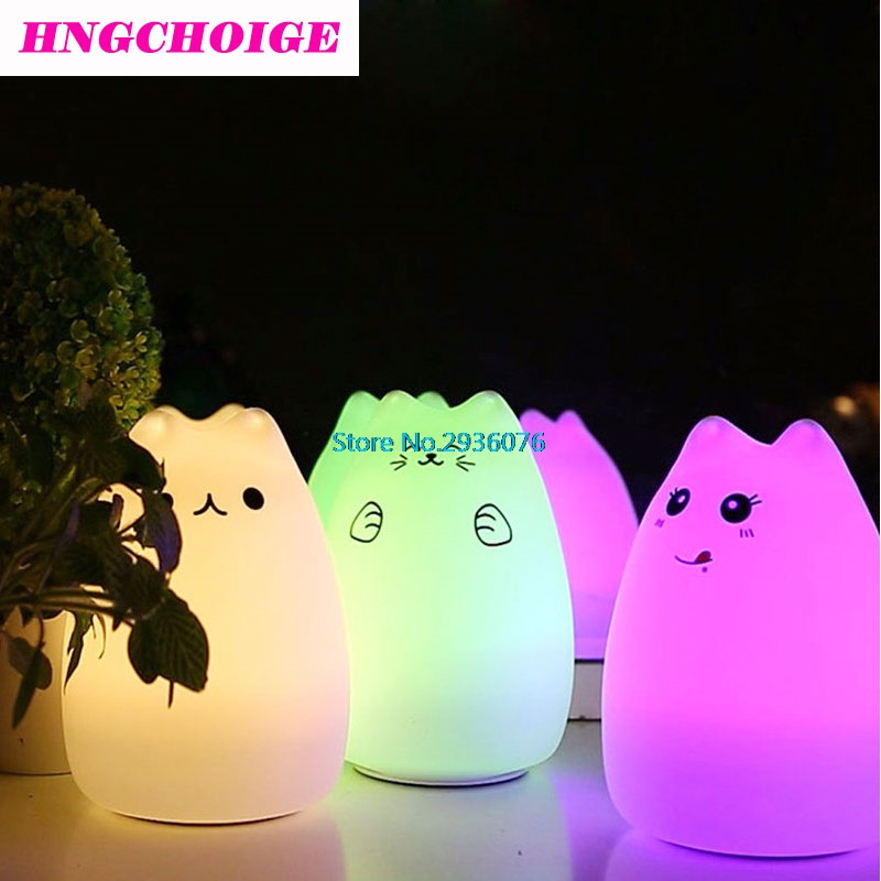 HNGCHOIGE USB Cat LED Children Animal Night Light Silicone Soft Cartoon Baby Nursery Lamp APR17_25(China)