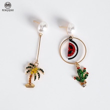 2017 Women Asymmetry Earrings Lovely Rhinestone Watermelon Cactus Coconut Tree Pendientes For Girl's Fashion Accessories
