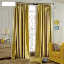 custom curtain simple modern countryside curtains livingroom bedroom windows shading Solid cotton Yellow jacquard plaid M114