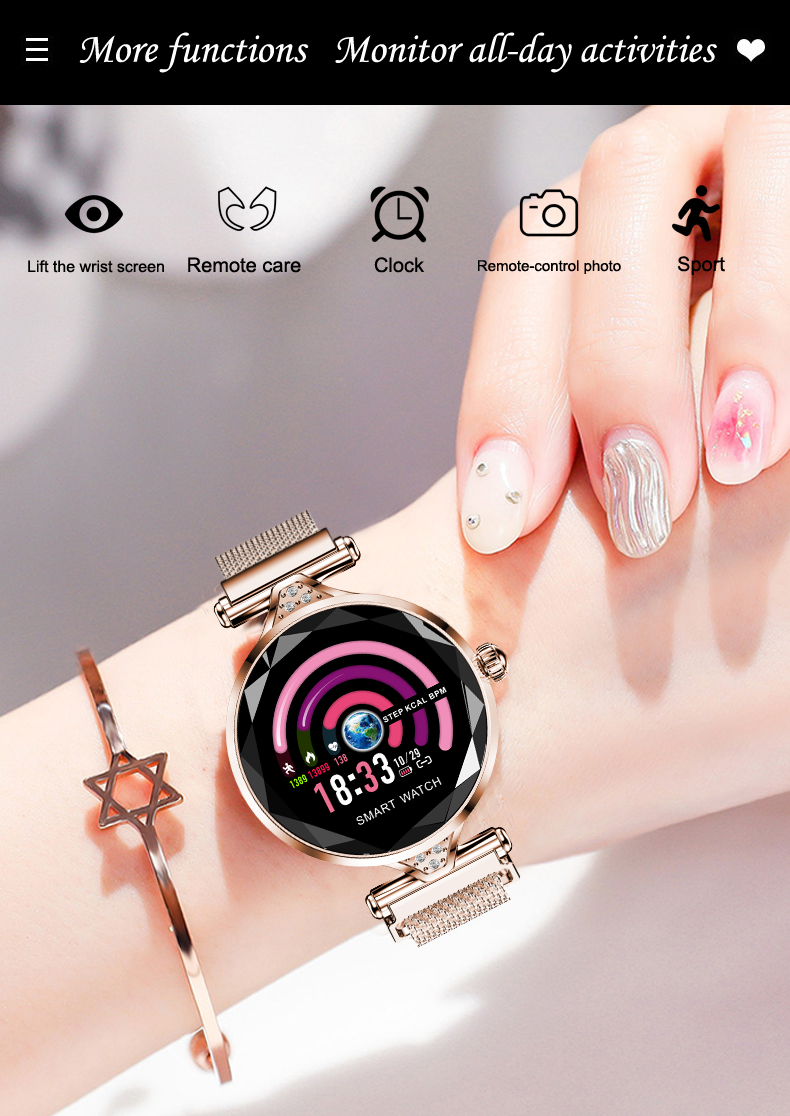 H1 Women Fashion Smartwatch Wearable Device Bluetooth Pedometer Heart Rate Monitor Smart Watch For AndroidIOS Smart Bracelet (12)