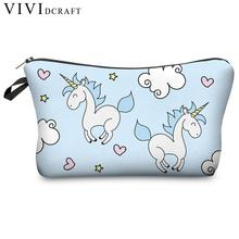 Vividcraft 1pc School Office Supplies Pencil Case Unicorn Make Up Bag Idea Emoji Cosmetic Travel Girls Ladies Gift Pencil Bag