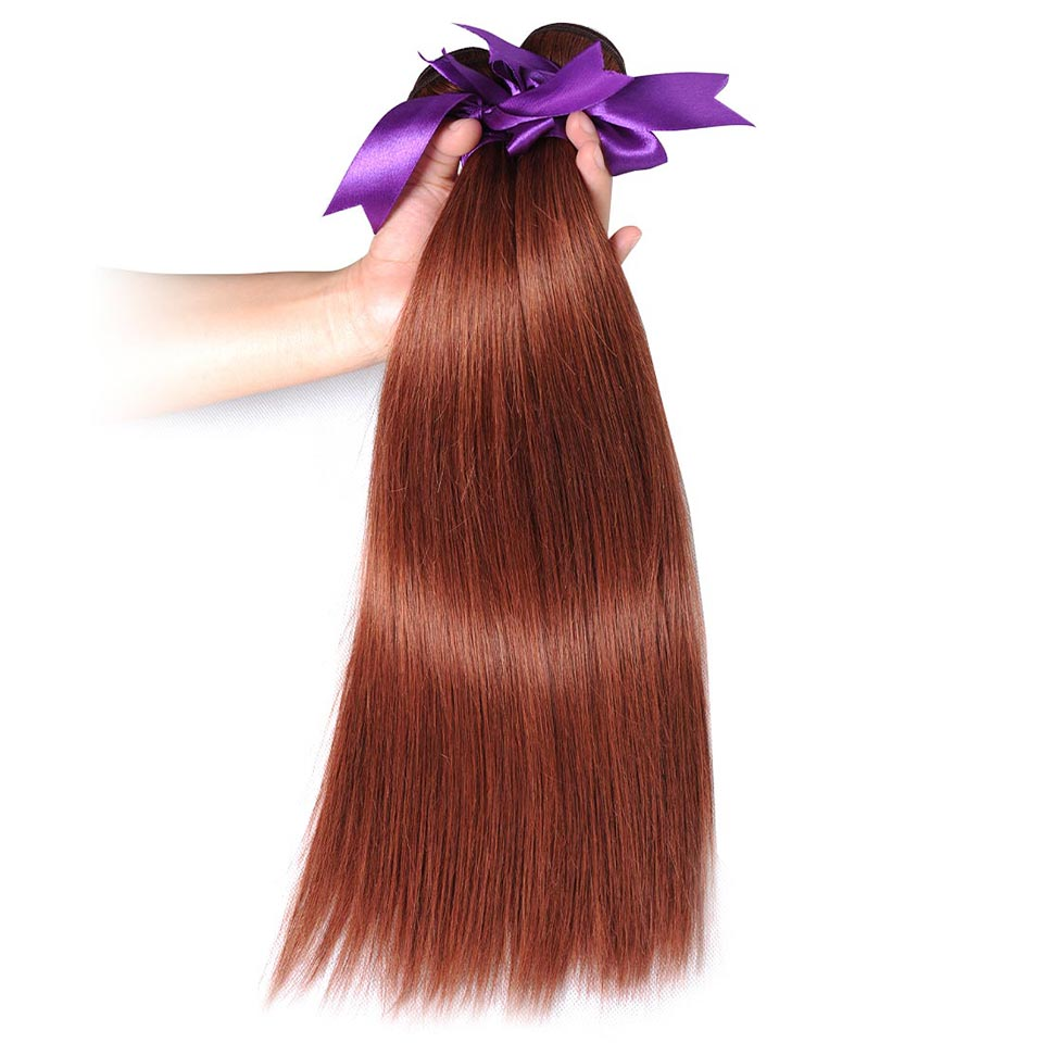 Brazilian Straight Hair Weave Bundles Color 33 100% Human Hair Weave Extensions No Shedding Thick Shining Star Non Remy 1Piece