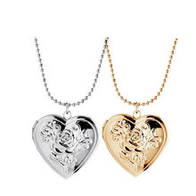 2016 MIss You Special Open Romantic Rose Heart Pendants Fashion Vintage Crystal Necklaces Gold Jewelry For Women A69
