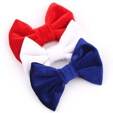"9pcs/lot American July 4th Day 4"" Big Smooth Velvet Kids Hair Bows Solid Mini Bow for Headband Hair Clips Autumn&Winter Headwear(China)"