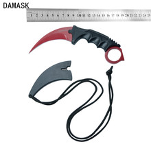Sharp Outdoor Survival Knife Damask Brand CSGO Counter Strike Karambit Knife Stainless Steel Fixed Blade Knife Red Camping Tools