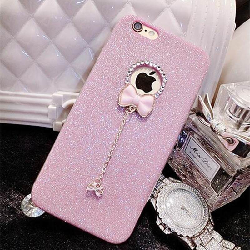 Hanging Chain Bow Pendant Luxury Diamond Bling Glitter Cute Soft TPU Silicnoe Phone Cover For iPhone 5 5S SE 6 6S Plus 7 Plus(China)
