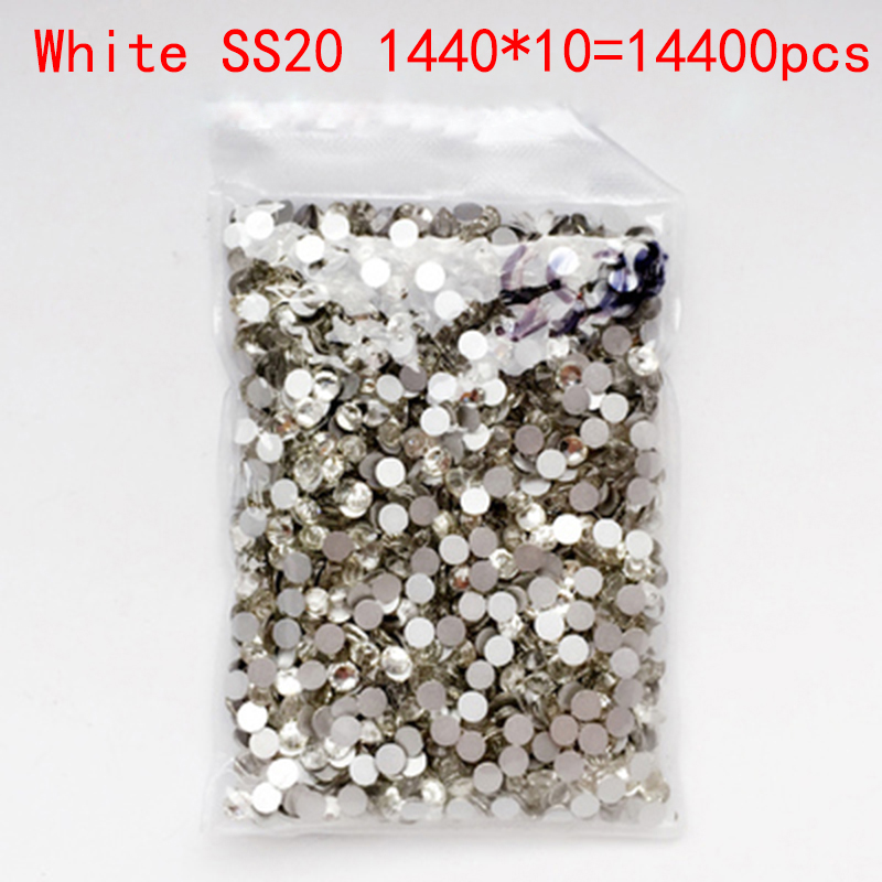 Wholesale Rhinestones New ss20 White 14400pcs 4.8mm Crystal Color Non Hotfix Rhinestones For Nails Flatback Nail Art Decorations<br>