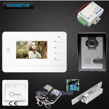 HOMSECUR 4.3inch Video Door Entry Security Intercom with IR Night Vision And One Button Unlock for Apartment 1V1+Strike Lock(China)