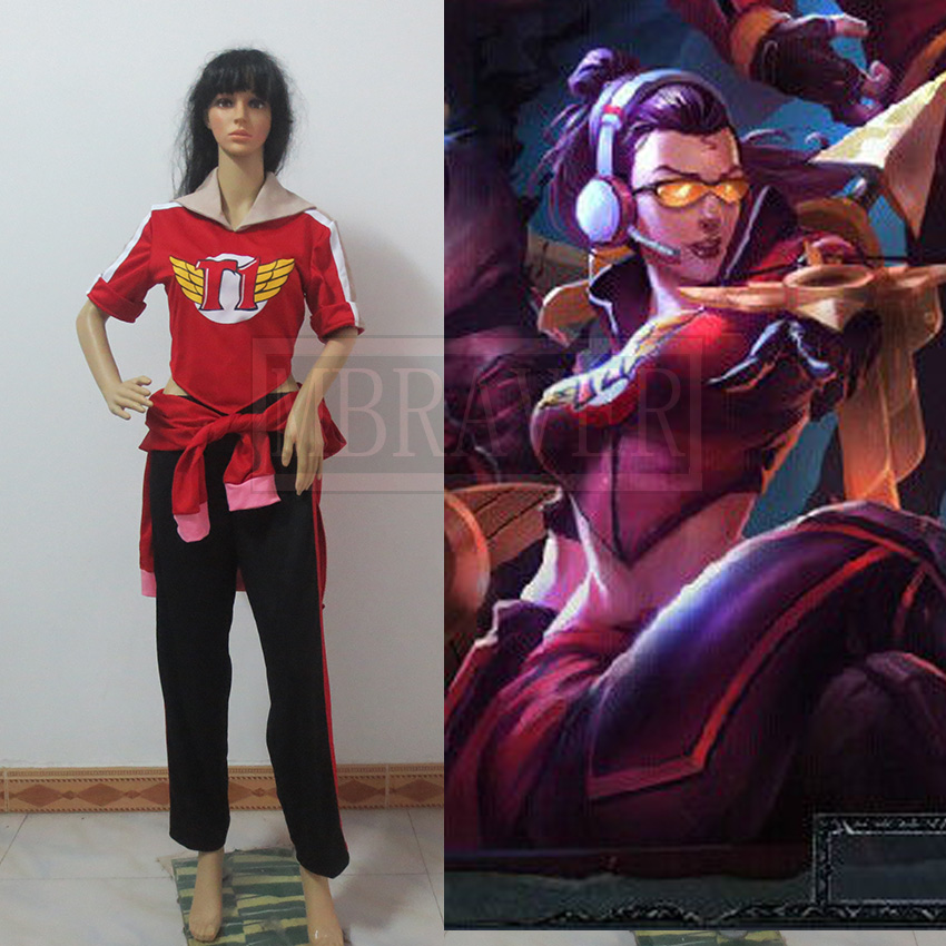 Game Anime LOL The Night Hunter Shauna Vayne SKT Skin Red Uniforms Suit Cosplay Costume