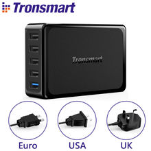 Tronsmart U5PTA Desktop Charger One Quick Charge 3.0 USB Charger with Four USB VoltiQ Fast Phone Charger Adapter EU US UK Plug