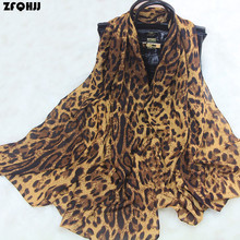 ZFQHJJ Classic Women Leopard Scarf Lady Silk Feeling Chiffon Leopard Print Scarves Hijab Large Long Pashmina Beach Sarong Scarf(China)