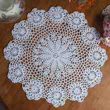White Lace Round Doilies Vintage Hand Crocheted Lace Doily Mat Flower Yarn Placemat Coaster Home Coffee Shop Dining Table