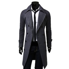 Peacoat Spring/Fall Fashion Men's Woolen Outerwear Winter Pea Overcoat Peacoats Double Breasted Trench Coats Woolen Coat(China)
