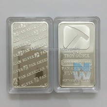 100pcs/lot  1 oz Pan Plated Silver Bullion Non magentic brass plated silver bar Souvenir Coin for Business Gifts