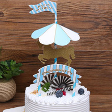 4pcs/Set Carousel Horse Cake Topper Unicorn Birthday Decoration Stand Picks Flag Kids Baby Figure Toy
