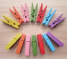 100pcs Random Mini Colored Spring Wood Clips Clothes Photo Paper Peg Pin Clothespin Craft Clips Party Decoration