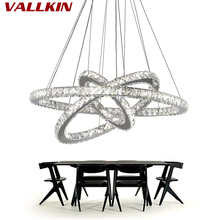 Modern Dinning Room LED Ring Pendant Lighting Crystal LED Hanging Lamp Lustre Stainless Steel Kitchen Pendant Lighting Lamps(China)