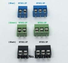 "120PCS ( Blue / Green / Black ) KF301 KF301-2P KF301-3P Environmental protection copper feet ""-"" Screw Terminal Block Connector(China)"