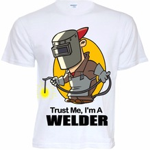 T Shirts Fashion 2017 Fitted T Shirtsmens Funny Cool Novelty Welder Job T-Shirts Joke Gifts Presents Ideas Tee Shirts(China)