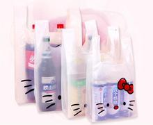 200pcs/lot Hello Kitty Pattern Supermarket Shopping Plastic Bag With Handle Retail Store Ornaments Jewelry Plastic Bags(China)