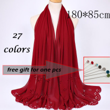 women large pearl bubble chiffon scarf laser cut flower shawls spring solid plain wrap muslim hijabs black scarves 20pcs/lot
