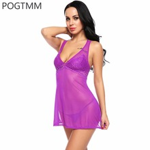 Buy Floral Lace Sexy Transparent Babydoll Dress Lingerie Erotic Hot Costumes Women Backless Mini Sleepwear Nightwear Night Gown