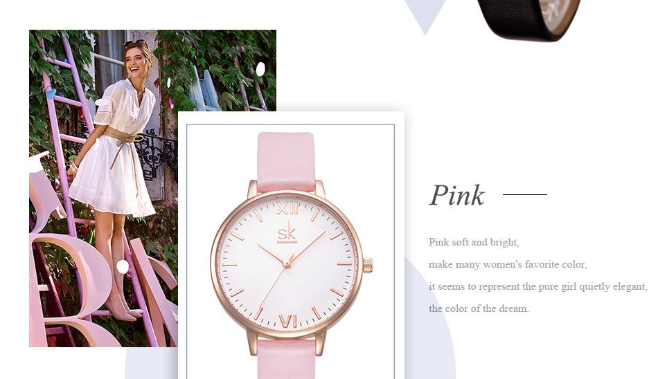 ساعة نسائية حزام جلد أنثى كوارتز الوان جميلة 12