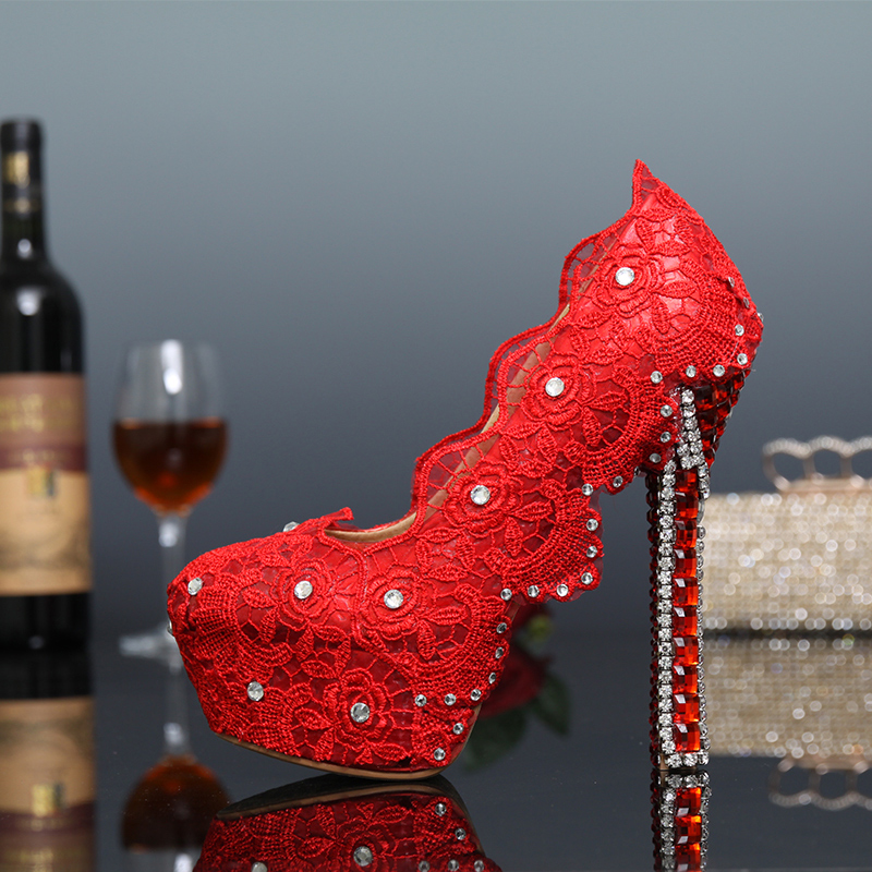 Red Lace Crystal Pumps Bridal Wedding Rhinestone Shoes Women Party Dress High Heel Shoes Crystal Shoes Sexy Plus Size 43<br><br>Aliexpress