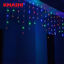 Kmashi Curtain Icicle String Lights Connectable 110V-220V New Year Christmas LED Icicle Lights 5M 216 leds Xmas Garden Wedding(China)