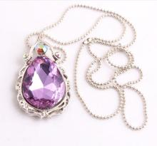 Kwoi vita Free shipping 1pcs chunky alloy crystal purple rhinestone  Teardrop  pendants ball chain necklace for kids jewelry