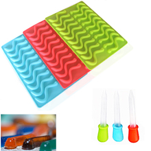 20 Cavity Silicone Gummy Worm Mold with Droppers BPA Free FDA Approved Halloween Gummi Candy Gelatin Maker Fishing Lure
