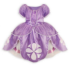 2016 Fancy Dress Baby Girls Kids Clothes Cartoon Sofia Purple Pageant Princess Party Costume Dress(China)