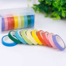 10 Pcs Rainbow Roll Diy Washi Sticker Paper Ribbon Sticker Car Sticker Tape Adhesive Scrapbooking Decorative Scrapbook Gift Ribb