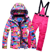 ski suit female colorfull plaid snow skiing jackets women thicken warm waterproof rossignol ski jackets and pants clothing sets(China)