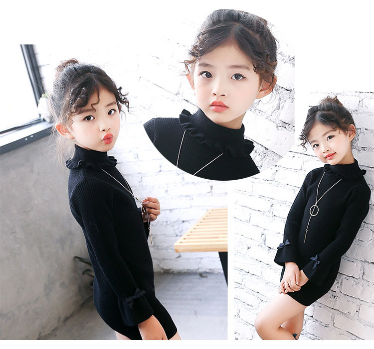 high neck knitting girls sweater dress kids clothes long sleeve knitted red black white autumn winter kids sweater knit tops 5 6 7 8 9 10 11 12 13 14 15 16 years little teenage big girls white girls dresses (7)