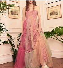 Buy See Orange Customer Made Pink Lace Summer Dress Women Party Dress 2018 Stpaghetti Strap Sexy Dress Bohemian Long Dress SO3330 for $339.99 in AliExpress store
