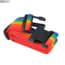 HMUNII Brand Adjustable Nylon Travel Luggage Backpack Bag Luggage Suitcase Straps Baggage Rainbow Belt Adjustable Travel rope